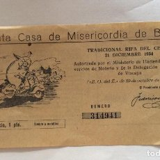 Cupones ONCE: DÉCIMO RIFA DEL CERDO-SANTA CASA DE MISERICORDIA BILBAO,AÑO 1954. Lote 220066545