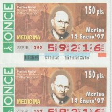 Cupones ONCE: CUPON ONCE TEMATICO- PREMIOS NOBEL. Lote 221381410