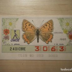 Cupones ONCE: CUPON ONCE - MARIPOSAS (M. BICOLOR) (HEMBRA) Nº 3063 (24 DICBRE 1986). Lote 222259526