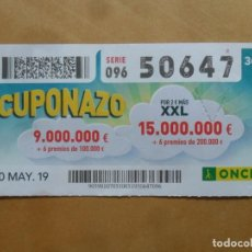Cupones ONCE: CUPON O.N.C.E. - Nº 50647 - 10 MAYO 2019 - CUPONAZO -. Lote 222328656