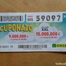 Cupones ONCE: CUPON O.N.C.E. - Nº 59097 - 10 MAYO 2019 - CUPONAZO -. Lote 222328720