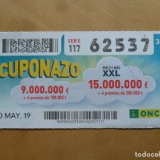 Cupones ONCE: CUPON O.N.C.E. - Nº 62537 - 10 MAYO 2019 - CUPONAZO -. Lote 222328750