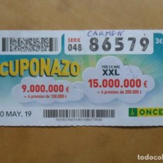 Cupones ONCE: CUPON O.N.C.E. - Nº 86579 - 10 MAYO 2019 - CUPONAZO -. Lote 222328916