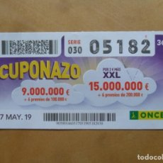 Cupones ONCE: CUPON O.N.C.E. - Nº 05182 - 17 MAYO 2019 - CUPONAZO -. Lote 222329817