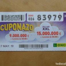 Cupones ONCE: CUPON O.N.C.E. - Nº 83979 - 17 MAYO 2019 - CUPONAZO -. Lote 222330520