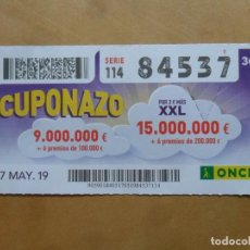 Cupones ONCE: CUPON O.N.C.E. - Nº 84537 - 17 MAYO 2019 - CUPONAZO -. Lote 222330580