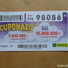 Cupones ONCE: CUPON O.N.C.E. - Nº 98086 - 17 MAYO 2019 - CUPONAZO -. Lote 222330623