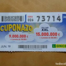 Cupones ONCE: CUPON O.N.C.E. - Nº 73714 - 7 JUNIO 2019 - CUPONAZO -. Lote 222690175