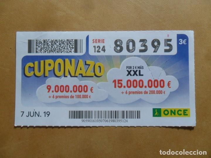 CUPON O.N.C.E. - Nº 80395 - 7 JUNIO 2019 - CUPONAZO - (Coleccionismo - Lotería - Cupones ONCE)