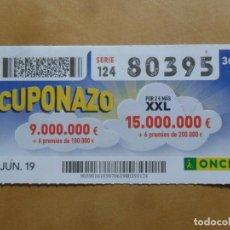 Cupones ONCE: CUPON O.N.C.E. - Nº 80395 - 7 JUNIO 2019 - CUPONAZO -. Lote 222690405
