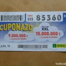 Cupones ONCE: CUPON O.N.C.E. - Nº 85360 - 7 JUNIO 2019 - CUPONAZO -. Lote 222690671