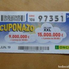 Cupones ONCE: CUPON O.N.C.E. - Nº 97351 - 7 JUNIO 2019 - CUPONAZO -. Lote 222690822