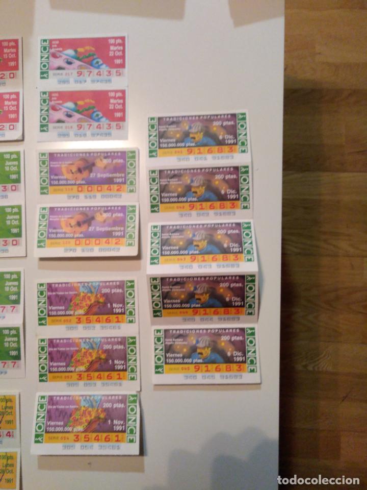 Cupones ONCE: Lote de 36 cupones ONCE unidos en conjuntos de 2, 3 o 5 cupones. Año 1991. - Foto 4 - 222705628