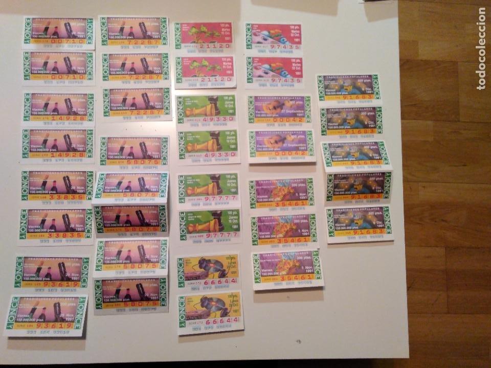 LOTE DE 36 CUPONES ONCE UNIDOS EN CONJUNTOS DE 2, 3 O 5 CUPONES. AÑO 1991. (Coleccionismo - Lotería - Cupones ONCE)
