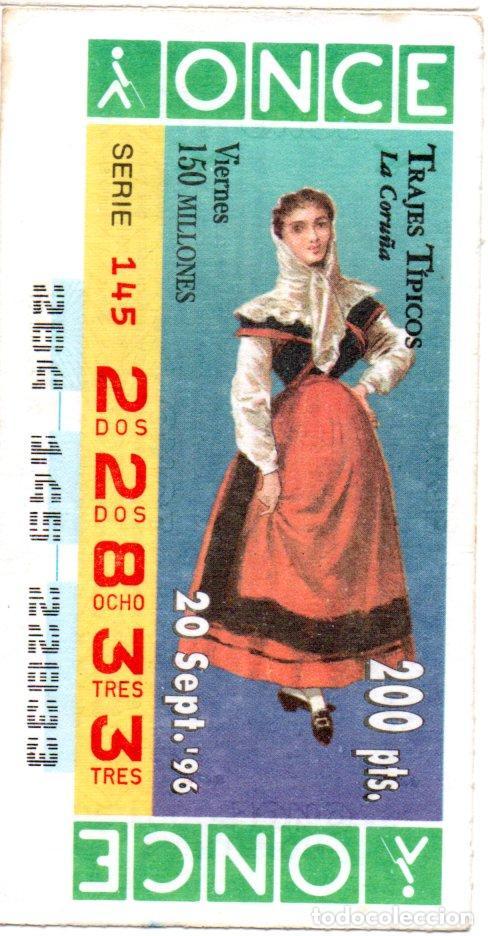 CUPÓN DE LA ONCE - AÑO 1996 - 20 DE SEPTIEMBRE - TRAJES TÍPICOS: LA CORUÑA - (Coleccionismo - Lotería - Cupones ONCE)