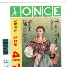 Cupones ONCE: CUPÓN DE LA ONCE - AÑO 1996 - 8 DE NOVIEMBRE - TRAJES TÍPICOS: HUESCA -. Lote 222846898