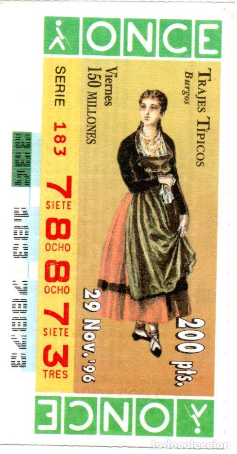 CUPÓN DE LA ONCE - AÑO 1996 - 29 DE NOVIEMBRE - TRAJES TÍPICOS: BURGOS - (Coleccionismo - Lotería - Cupones ONCE)