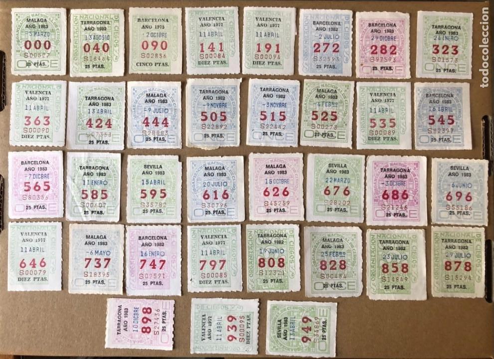 CCV1 35 CAPICUAS DISTINTOS CON NUMEROS DE TRES CIFRAS DE LA ONCE (Coleccionismo - Lotería - Cupones ONCE)