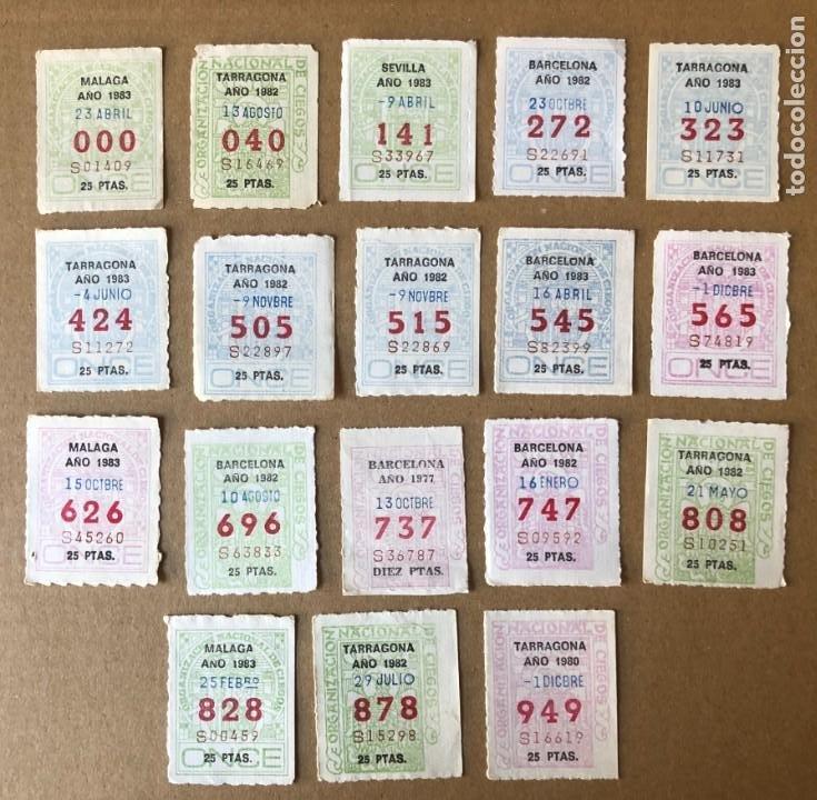 CCV1 18 CAPICUAS DIFERENTES CON NUMEROS DE CUPONES DE LA ONCE DE TRES CIFRAS (Coleccionismo - Lotería - Cupones ONCE)