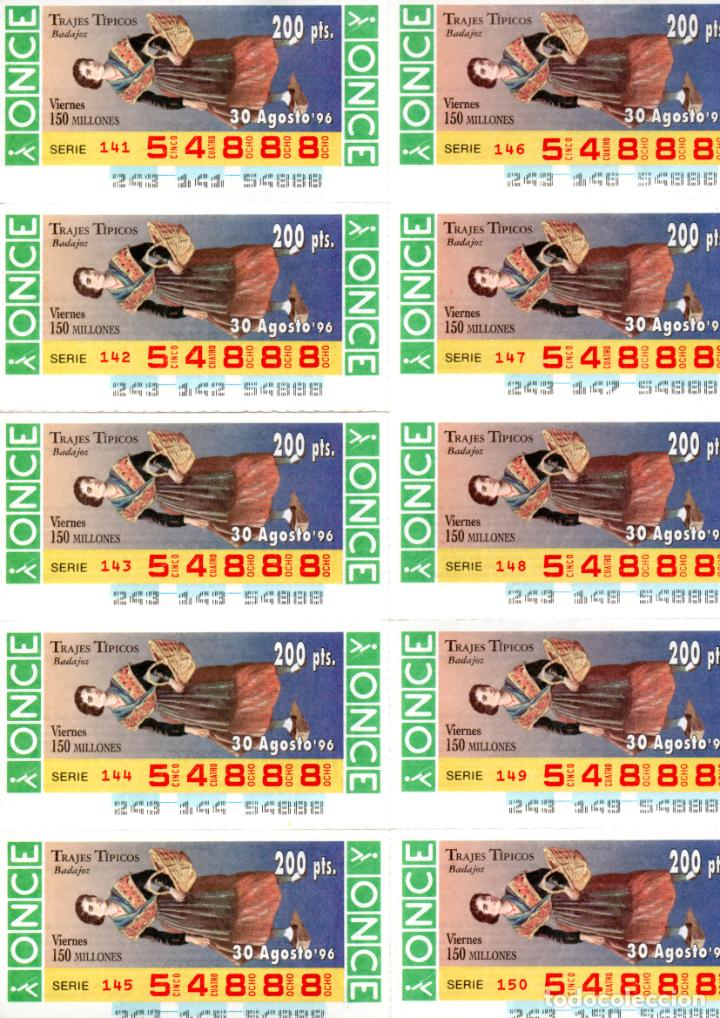 BILLETE DE LA ONCE (10 CUPONES) - AÑO 1996 - 30 DE AGOSTO - TRAJE TÍPICO DE BADAJOZ - (Coleccionismo - Lotería - Cupones ONCE)