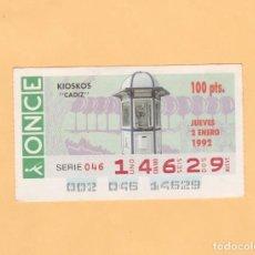 Bilhetes ONCE: CUPON DE LA ONCE 2 ENERO 1992 KIOSKOS CADIZ. Lote 223554812