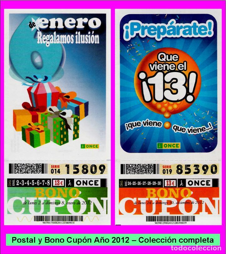 2012 - AÑO COMPLETO - BONO SEMANAL DE LA ONCE / ENTERO SIN CORTAR / BUENA CALIDAD (Coleccionismo - Lotería - Cupones ONCE)
