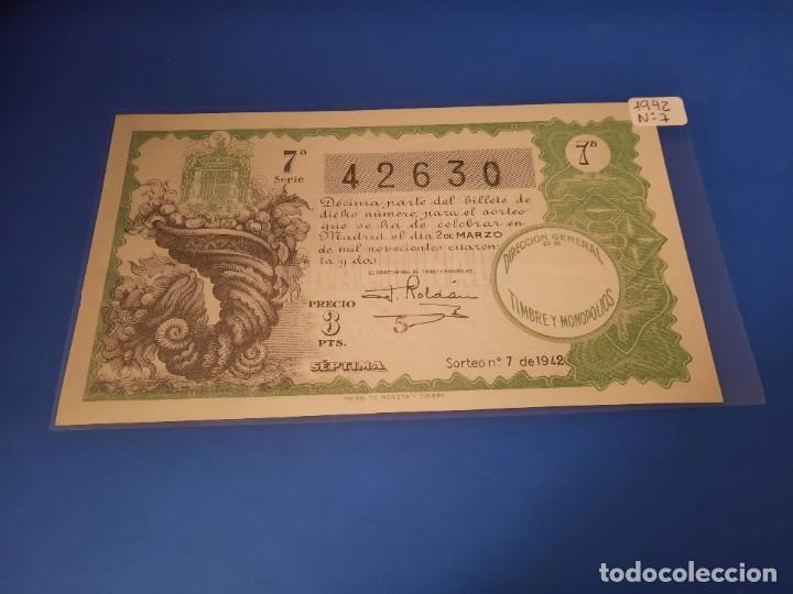 LOTERIA 1942 SORTEO 7 (Coleccionismo - Lotería - Cupones ONCE)