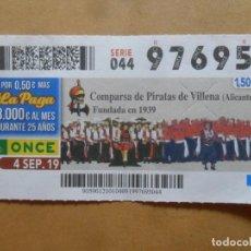 Billets ONCE: CUPON O.N.C.E. - Nº 97695 - 4 SEPTIEMBRE 2019 - COMPARSA DE PIRATAS DE VILLENA, ALICANTE -. Lote 229070725