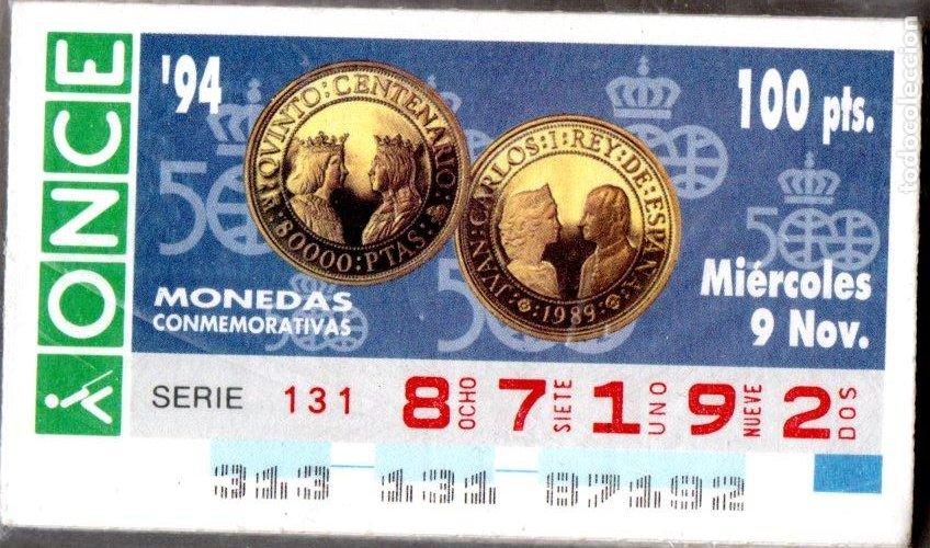 93 CUPONES DE LA ONCE - AÑOS 1994 Y 1995 - COLECCIÓN COMPLETA DE MONEDAS CONMEMORATIVAS - - (Coleccionismo - Lotería - Cupones ONCE)