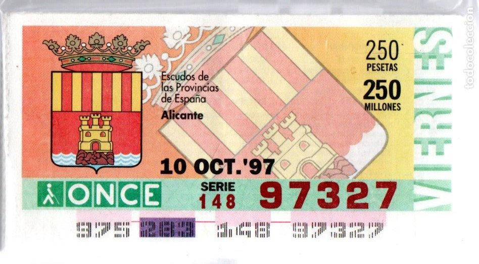 53 CUPONES DE LA ONCE - AÑOS 1997 Y 1998 - COLECCIÓN COMPLETA DE ESCUDOS DE ESPAÑA - (Coleccionismo - Lotería - Cupones ONCE)