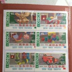 Cupones ONCE: COLECCIÓN DEJUGUETES 8 CUPONES AÑO 1994. Lote 231226230
