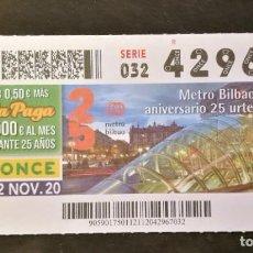 Billets ONCE: Nº 42967 (12/NOVIEMBRE/2020)-VIZCAYA. Lote 233667855