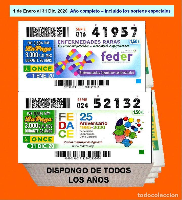 2020 - CUPONES DE LA ONCE / AÑO COMPLETO INCLUIDO LOS SORTEOS ESPECIALES / BUENA CALIDAD (Coleccionismo - Lotería - Cupones ONCE)