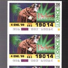 Cupones ONCE: 4 CUPONES DE LA ONCE - 4 DE ENERO DE 1999 - FIGURAS DEL BELÉN -. Lote 235200090