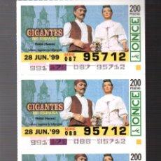 Cupones ONCE: 4 CUPONES DE LA ONCE - 28 DE JUNIO DE 1999 - GIGANTES: FRAGA (HUESCA) -. Lote 235200965