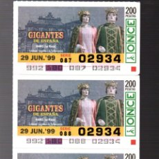 Cupones ONCE: 4 CUPONES DE LA ONCE - 29 DE JUNIO DE 1999 - GIGANTES: HARO (LA RIOJA) -. Lote 235201040