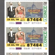 Cupones ONCE: 4 CUPONES DE LA ONCE - 19 DE JULIO DE 1999 - GIGANTES: RIBADEO (LUGO) -. Lote 235201190