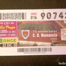 Billets ONCE: Nº 90742 (22/DICIEMBRE/2020)-SORIA. Lote 235348030