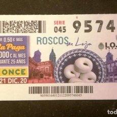 Billets ONCE: Nº 95746 (21/DICIEMBRE/2020)-GRANADA. Lote 235349280