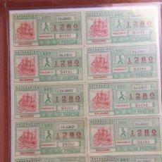 Cupones ONCE: PLIEGO 10 CUPONES DE LA ONCE 26 JUNIO 1985. Lote 235532355