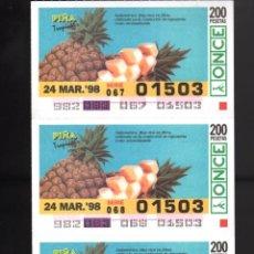 Cupones ONCE: 4 CUPONES DE LA ONCE - 24 DE MARZO DE 1998 - PIÑA -. Lote 235853210