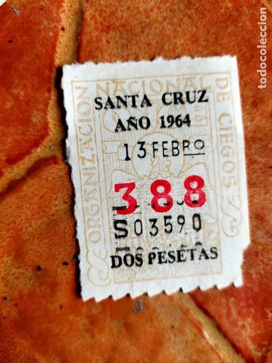 ANTIGUO CUPÓN DE LA ONCE 388 SANTA CRUZ DE TENERIFE 1964 ORGANIZACION NACIONAL CIEGOS ESPAÑOLES (Coleccionismo - Lotería - Cupones ONCE)