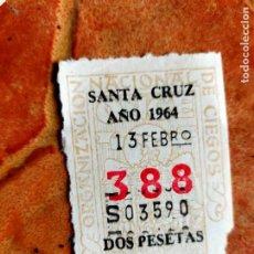 Bilhetes ONCE: ANTIGUO CUPÓN DE LA ONCE 388 SANTA CRUZ DE TENERIFE 1964 ORGANIZACION NACIONAL CIEGOS ESPAÑOLES. Lote 236153330