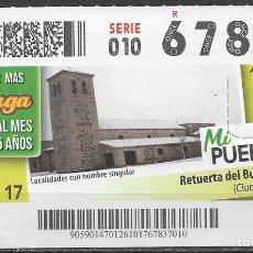 Cupones ONCE: ONCE,MI PUEBLO,26/10/2017.. Lote 236219590