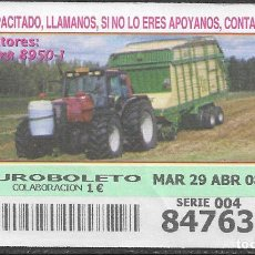 Billets ONCE: OID,TRACTORES,VALTRA 8950-1.29/03/2008.. Lote 236250060