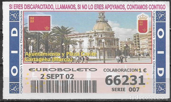 OID,AYUNTAMIENTO Y PLAZA CAVITE,CARTAGENA,MURCIA,15/10/2002. (Coleccionismo - Lotería - Cupones ONCE)