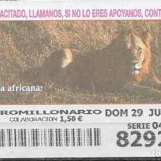 Billets ONCE: OID,FAUNA AFRICANA,LEON,29/06/2003.. Lote 236785200