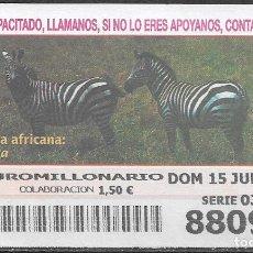 Billets ONCE: OID,FAUNA AFRICANA,CEBRA,15/06/2003.. Lote 236785760