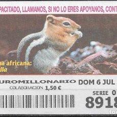 Billets ONCE: OID,FAUNA AFRICANA,ARDILLA,06/07/2003.. Lote 236786015