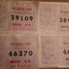 Cupones ONCE: 4 CUPONES ONCE DE 1 ENERO 1983. Lote 238403500
